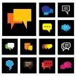 Chat or speech bubbles vector icons set on black background — Stock Vector #48931127