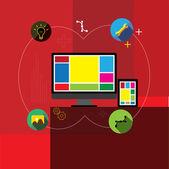 フラットなデザイン ベクトル アプリ、アプリケーション開発 & web デザイン — ストックベクタ