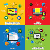 Flat designs of website design, application & app development ve — Stock Vector
