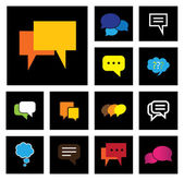 Chat or speech bubbles vector icons set on black background — Stock Vector