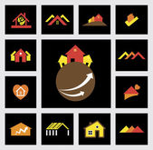 House, home, real estate & construction industry vector icons — Stock Vector