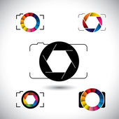 Abstract slr camera concept vector icons — Stock Vector