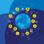 Społecznych mediów & sieci koncepcja wektor z ikony Płaska konstrukcja — Wektor stockowy
