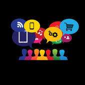 Icons of consumers or users online in social media, shopping - v — Stock Vector