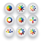 Colorful people, children, employees icons collection set - vect — Stock Vector