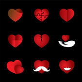 Heart & love vector icons collection indicating romance, passion — Stock Vector