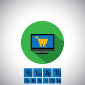 Flat design icon of online shopping using desktop or PC - vector — 图库矢量图片