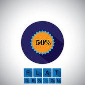 Flat design icon of 50 percent discount sale badge - vector graphic — Stock Vector