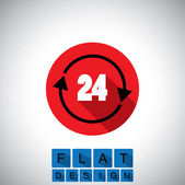 Płaska konstrukcja ikona 24 godziny znak lub symbol - grafiki wektorowej — Wektor stockowy