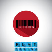 Flat design icon of barcode with numbers - vector graphic. — Vector de stock