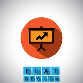 Flat design icon of arrow graph on board - vector graphic — Stock Vector