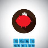 Flat design icon of saving money or cash - vector graphic — Stock Vector