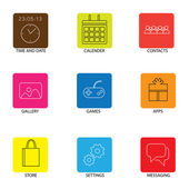 Flat line icons for mobile or smartphone - concept vector. — Stok Vektör