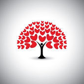 Heart or love icons and people as tree or plant - concept vector — Stock Vector