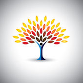 Colorful people tree - eco lifestyle concept vector — Vector de stock