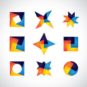 Colorful geometric shapes vector icons of design elements — Stock Vector