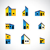 Colorful set of house or home, factory & industrial buildings -  — Stock Vector