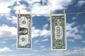 One Dollar Hanging a Rope with Clothespin — Stock Photo