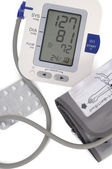 Electronic blood pressure meter and cuff — ストック写真