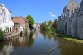 Vecchie case di città e canale di ghent, belgio — Foto Stock
