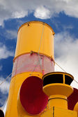Smokestack on an old steam ship — Stock Photo