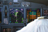 Commercial aircraft panel at night — Stock Photo