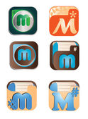 Vector illustration of abstract icons based on the letter M — Stock Vector
