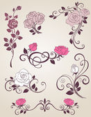 Roses decorativos — Vector de stock