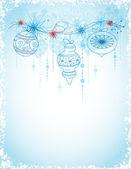 Tarjeta de navidad con adornos — Vector de stock
