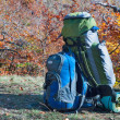 Backpacks on plateau - Stock Photo
