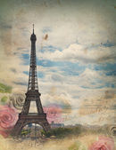 Old card with Paris — Stock Photo