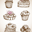 Vintage hand drawn cakes — Stock Vector