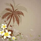 Background with flowers and palm — Stock Vector