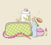 Handbag and cosmetics — Stock Vector