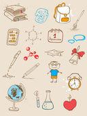 Doodle school icons — Stock Vector