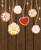 Background with heart and flowers — Vector de stock