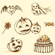 Vintage Halloween elements — Stock Vector