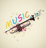 Music background with trumpet — Stock Vector