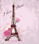 Roses and Eiffel tower — Stock Vector