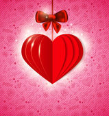 Kırmızı kağıt kalp — Stok Vektör