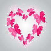 Heart and pink butterflies — Stock Vector