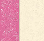 Pink background with hand drawn flowers — Stockvektor