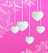Pink background with paper hearts — Stockvector