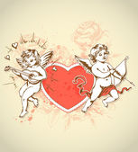 Valentine card with cupids — Stok Vektör