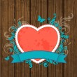 Wooden background with red heart — Stock Vector