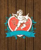 Kırmızı kalpli ahşap arka plan — Stok Vektör