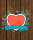 赤いハートの木製の背景 — ストックベクタ