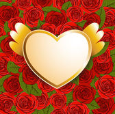 Background with red roses and heart — Stockvector