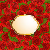Background with red roses and label — Vetorial Stock