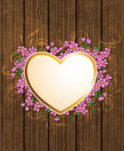 Heart and pink flowers — Stock Vector